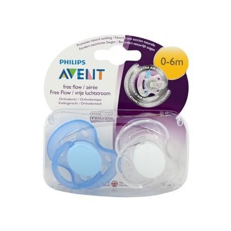 Avent Philips smoczek Freeflow 0-6m biały-niebieski